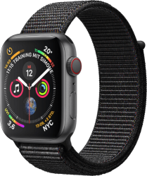 Apple Watch Series 4 (GPS + LTE) Aluminium, Space Grau 44mm Sport Loop Schwarz